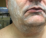 Arko stick rubbed on face - make a thin layer like the photo